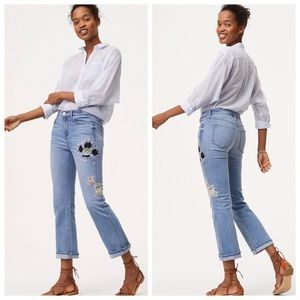 LOFT | NWT Floral Embroidered Straight Jeans